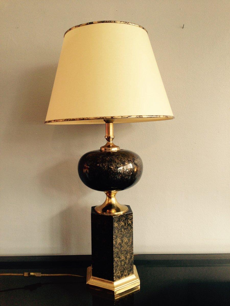 schwarz goldene tischlampe aus frankreich 1970er bei. Black Bedroom Furniture Sets. Home Design Ideas