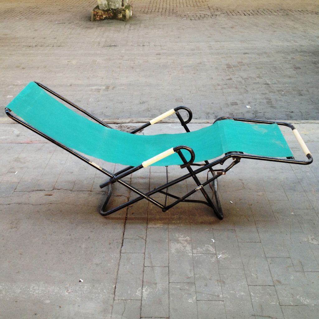 Folding lounger by r gleizes 1950s for sale at pamono for Chaise longue aluminium pliante