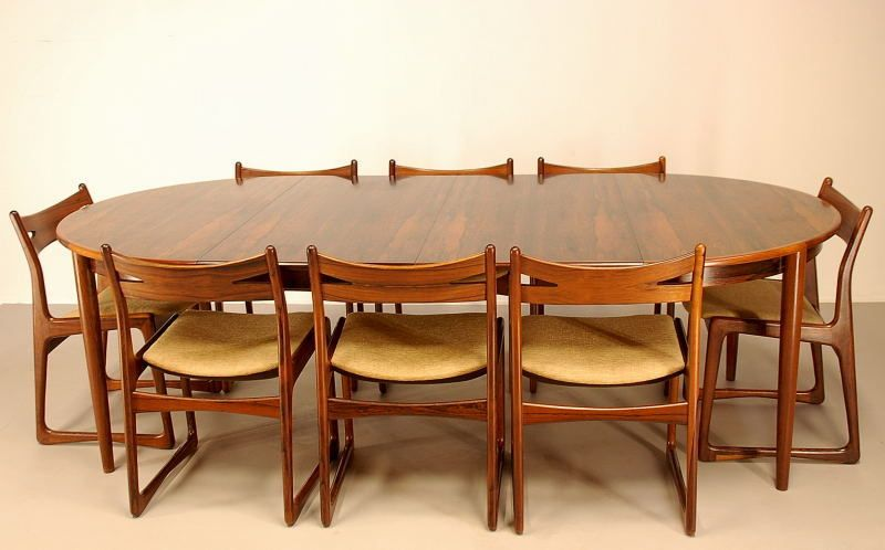 Vintage Rosewood Dining Set With 10 Chairs 1960s For Sale