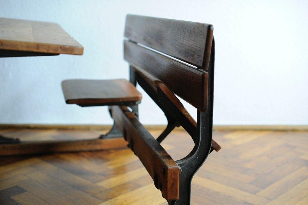 vintage school desk and bench 1950s for sale at pamono. Black Bedroom Furniture Sets. Home Design Ideas