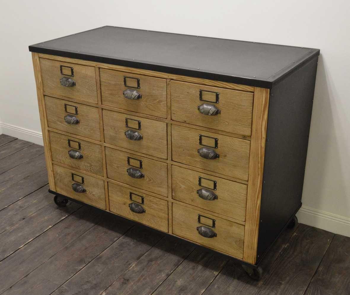 Vintage Industrial Wooden Filing Cabinet On Wheels For