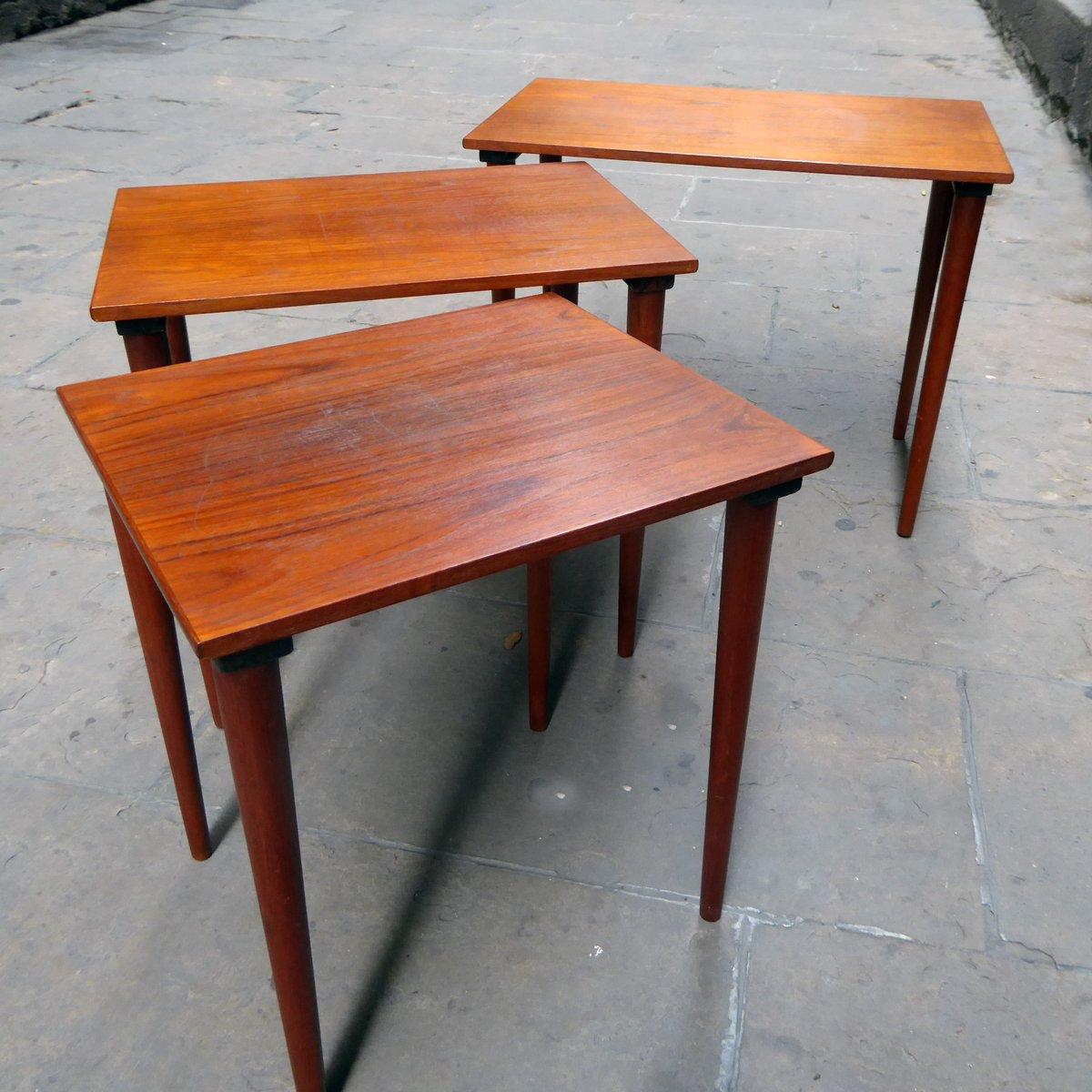 High Quality Mid Century Danish Teak Nesting Tables, Set Of 3