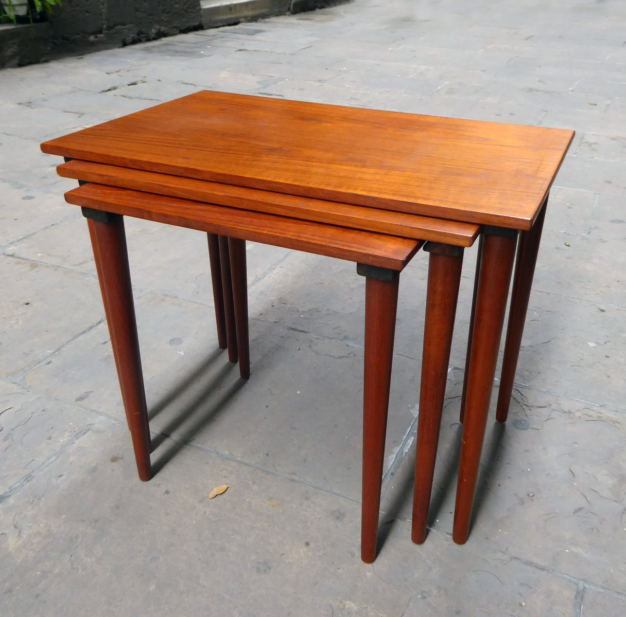 Teak Nesting Tables ~ Mid century danish teak nesting tables set of for sale