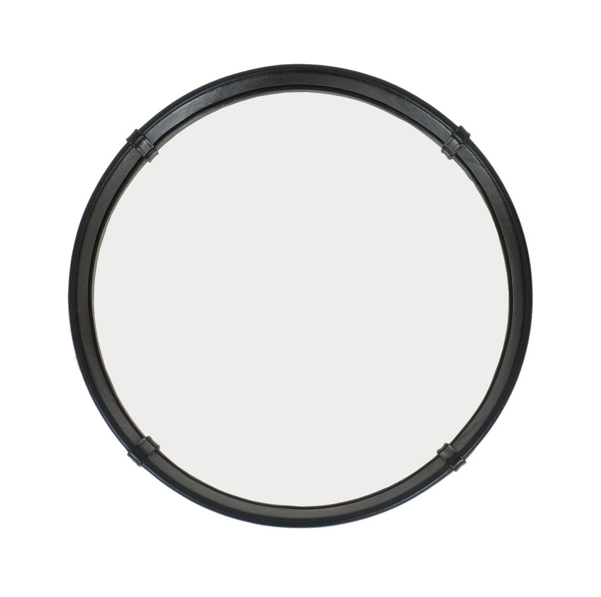 Miroir circulaire mid century recouvert de cuir par pace for Miroir circulaire