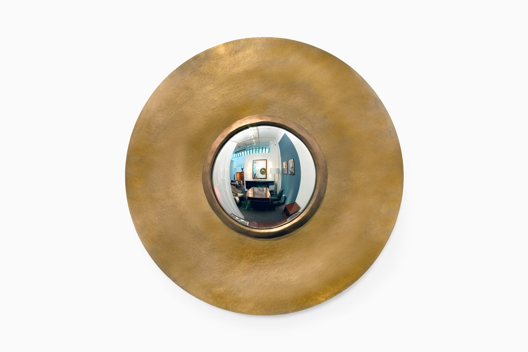 Round bronze mirror by herv van der straeten for sale at for Miroir design rond