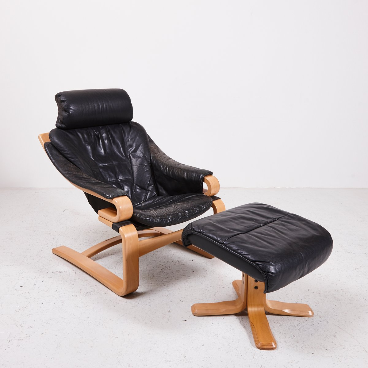 danish black leather easy chair with ottoman for sale at pamono