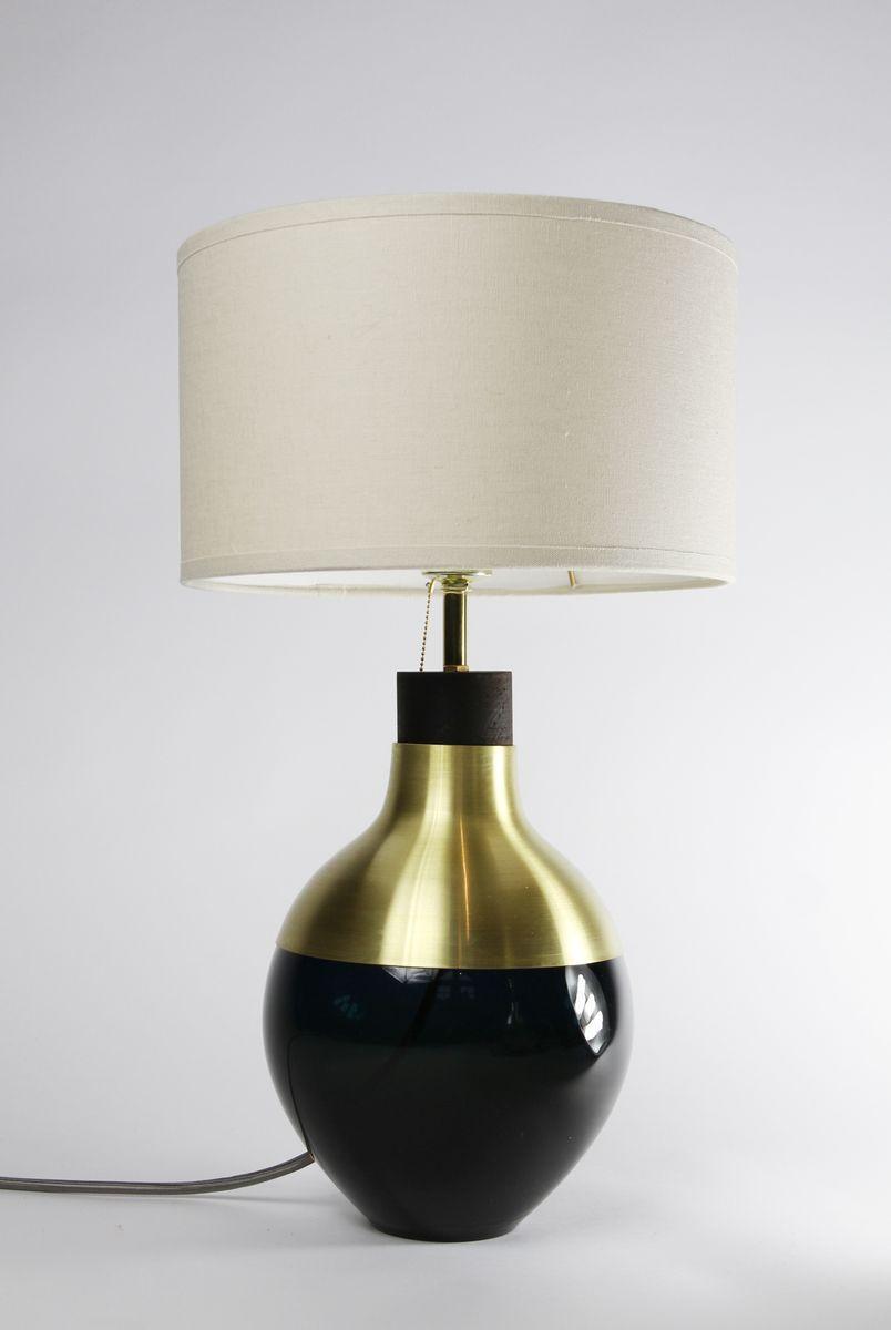 dunkelblaue m2 museum lampe aus messing von utopia. Black Bedroom Furniture Sets. Home Design Ideas