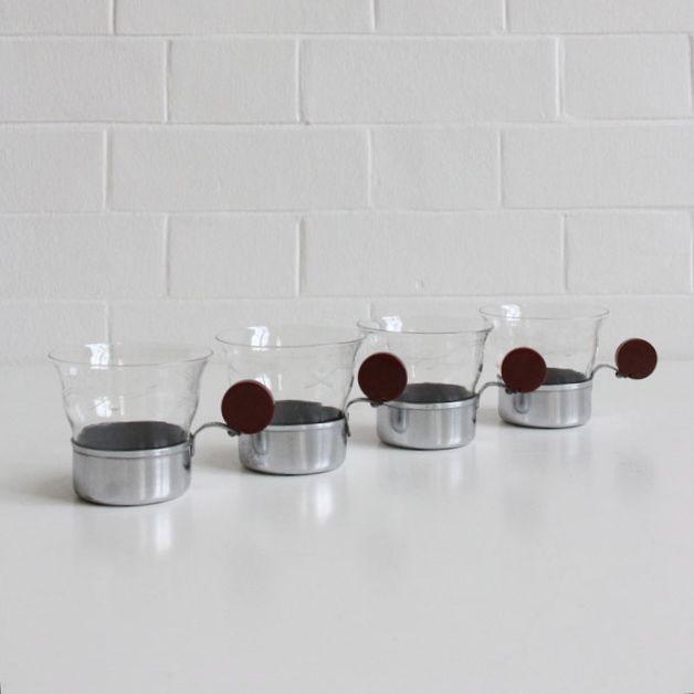 stahl glass teetassen 4er set 1930er bei pamono kaufen. Black Bedroom Furniture Sets. Home Design Ideas