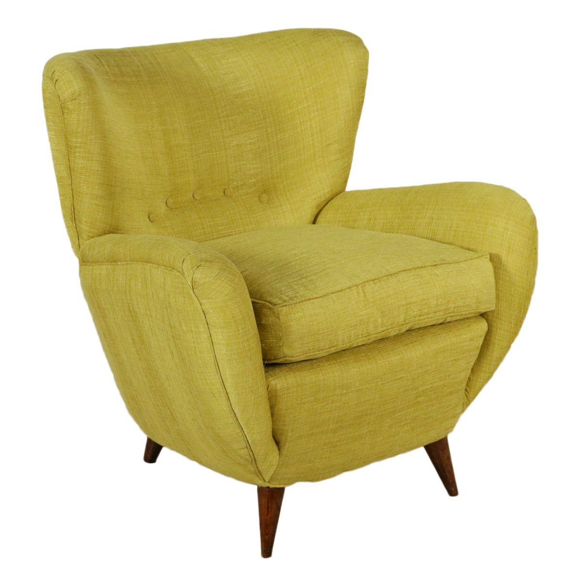 Vintage Italian Yellow Armchair 1950s