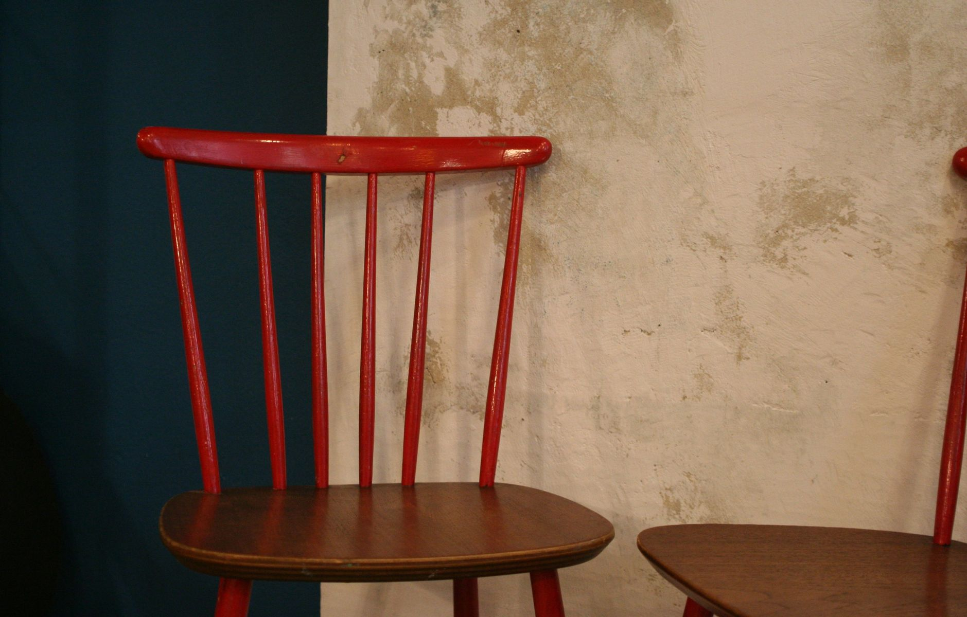 red danish kitchen chairs 1960s set of 2 3