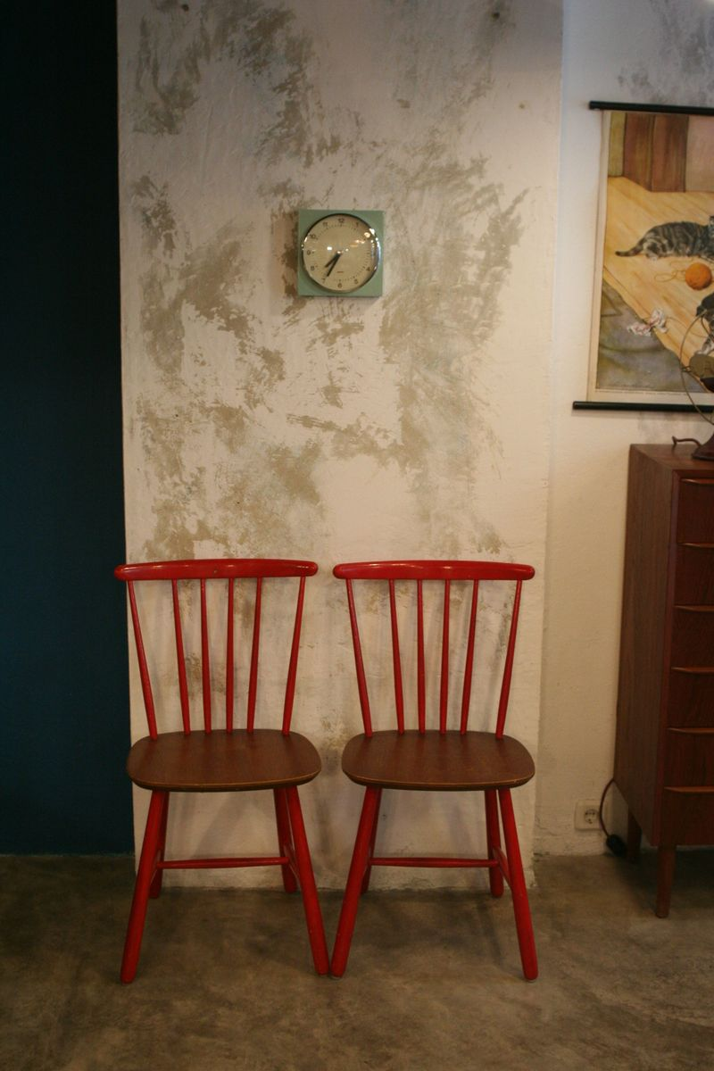 Red Danish Kitchen Chairs 1960s Set of 2 for sale at Pamono
