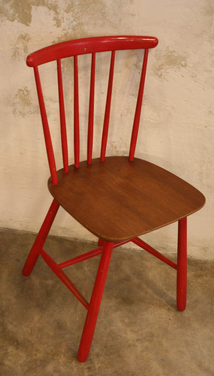 red danish kitchen chairs 1960s set of 2