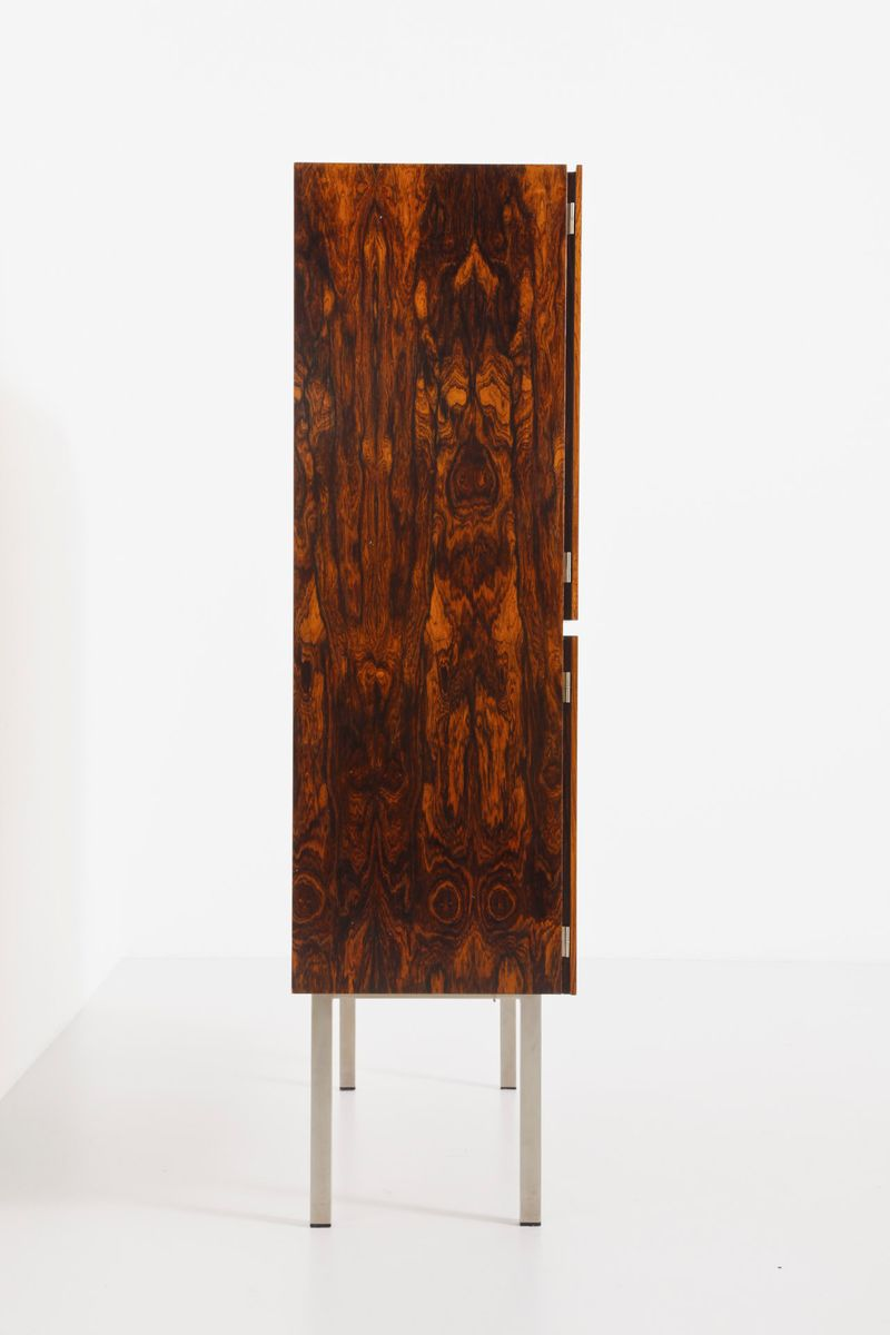 Vintage rosewood cabinet with metal legs for sale at pamono for Sideboard 3 meter lang