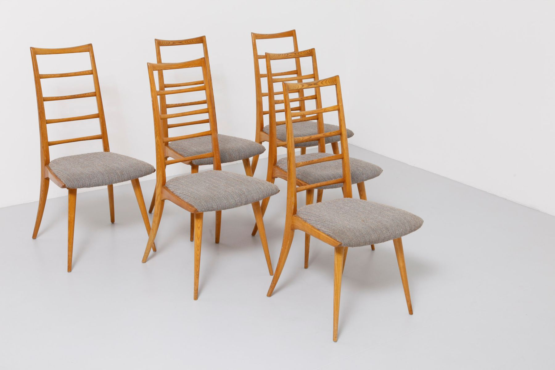 Oak dining chairs set of 6 for sale at pamono for Oak dining chairs