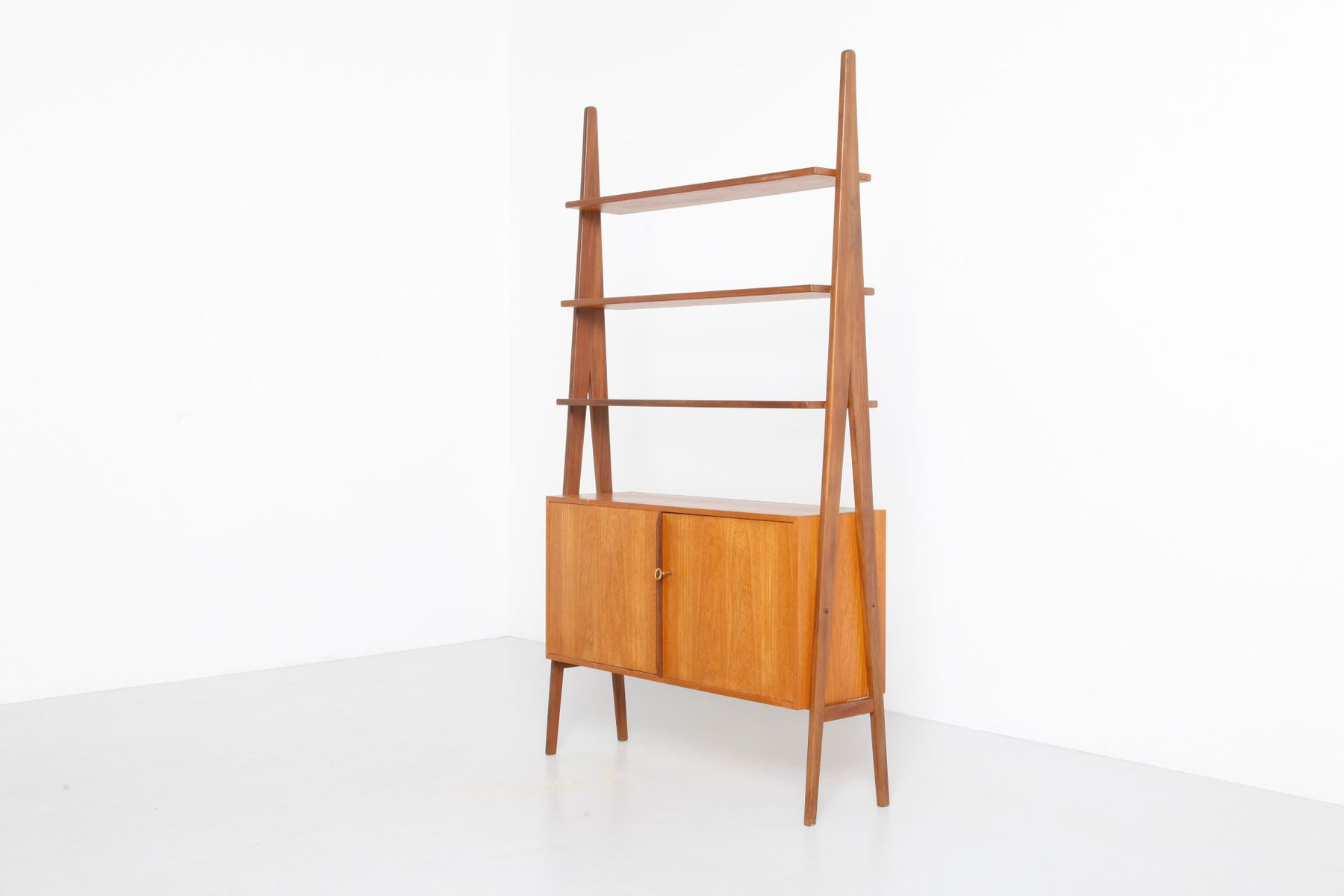 Mid Century Free Standing Teak Shelf From Wk M Bel For