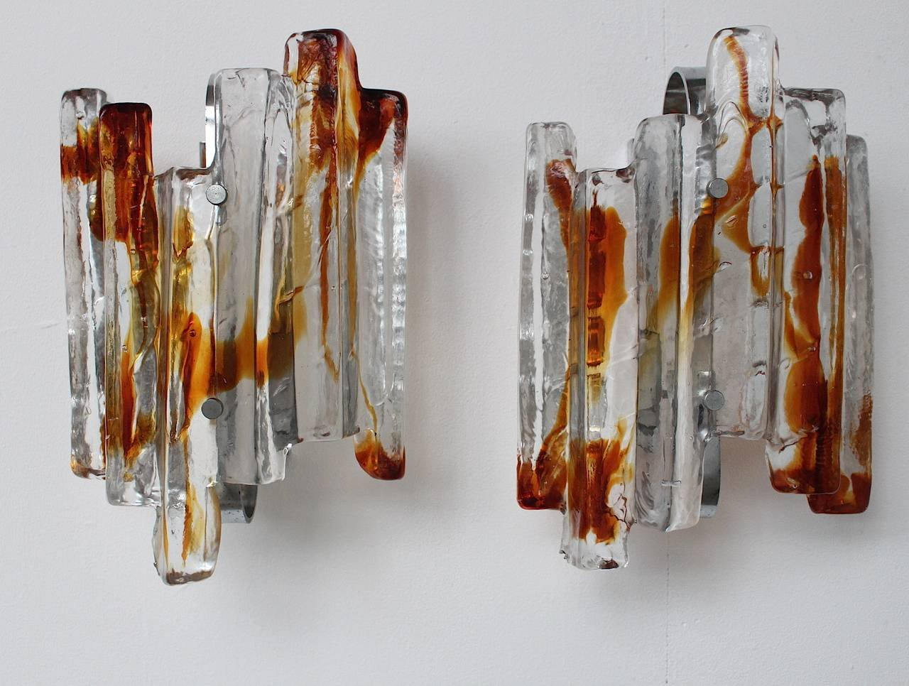 Vintage Sculptural Murano Glass Wall Sconce from Mazzega for sale at Pamono
