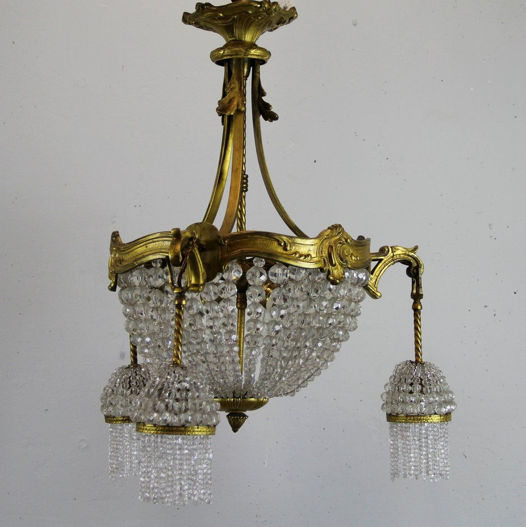 chandelier en cristal et en bronze france 1920s en vente. Black Bedroom Furniture Sets. Home Design Ideas