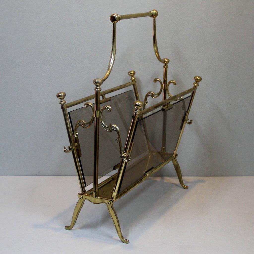 bronze magazine rack by maison charles 1940s for sale at. Black Bedroom Furniture Sets. Home Design Ideas