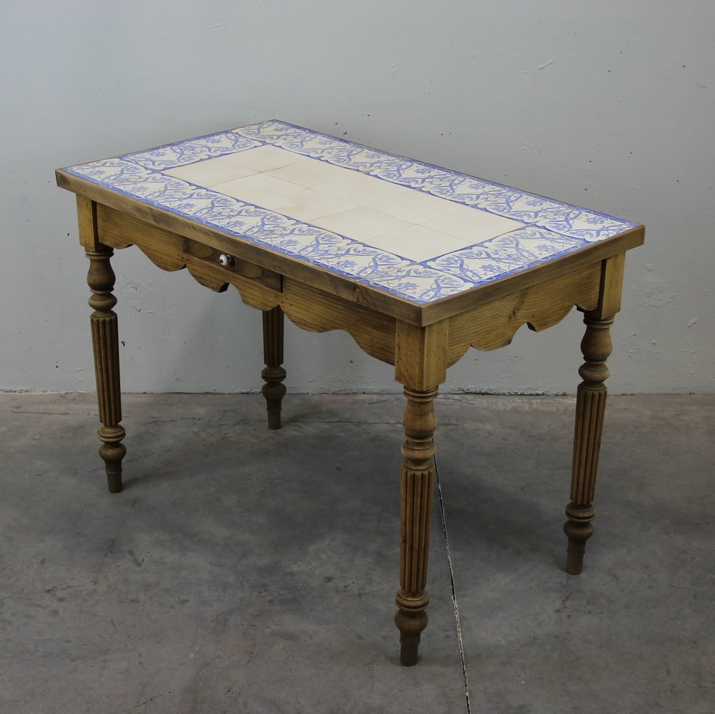 Antique french tiled dining table for sale at pamono - Antique french dining tables ...