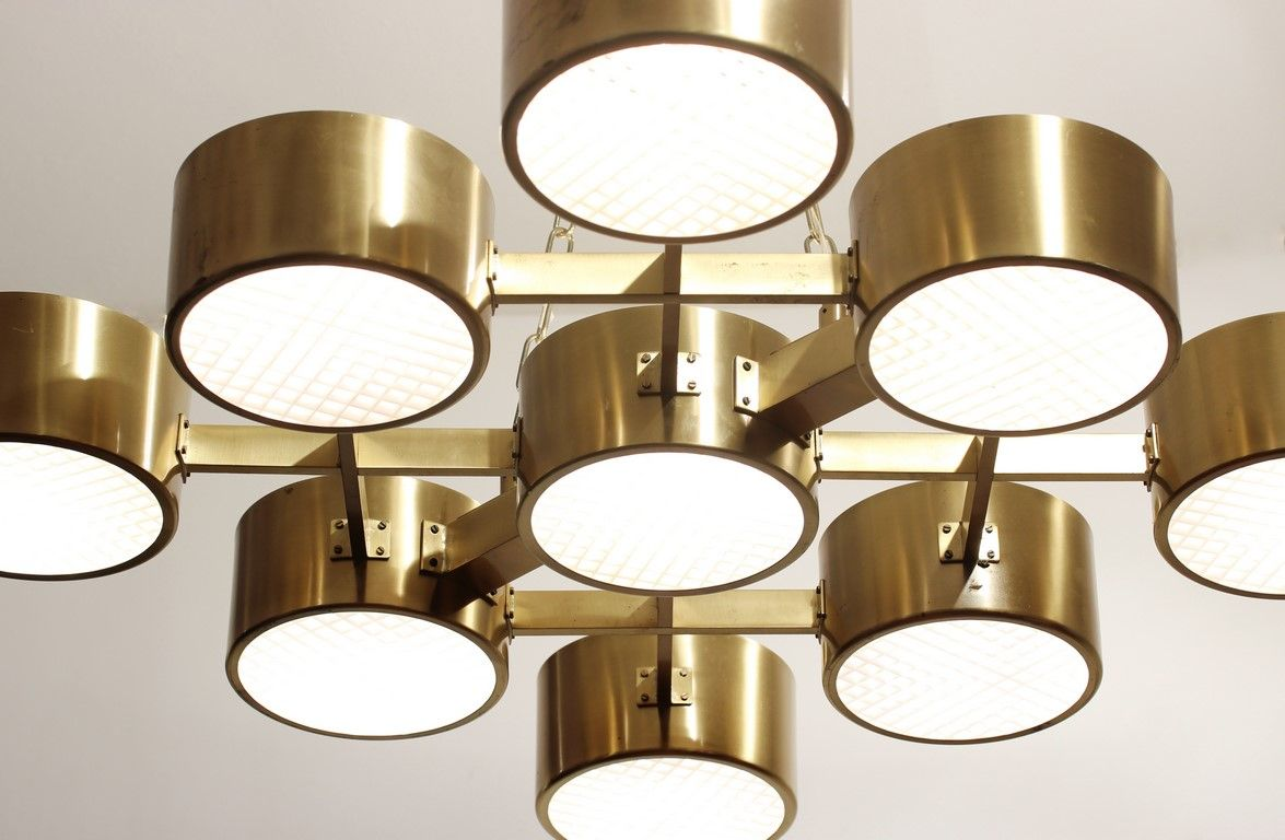 Mid Century Brass Ceiling Light By Hans Agne Jakobsson