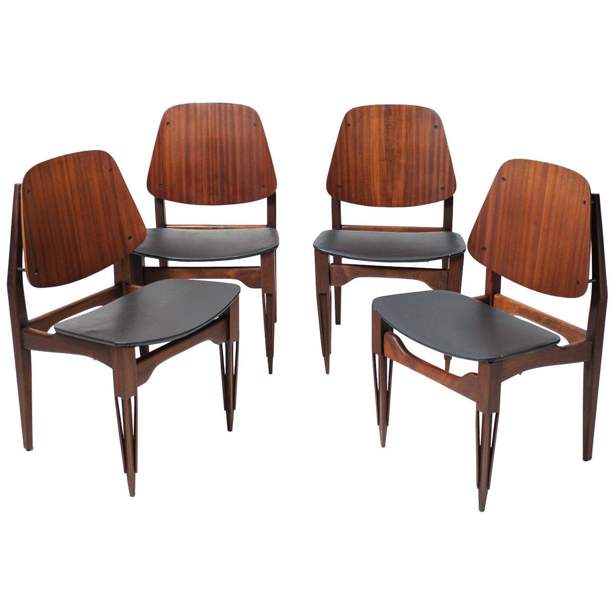 Very Impressive portraiture of Vinyl and Wood Chairs 1950s Set of 4 for sale at Pamono with #975534 color and 1200x1200 pixels