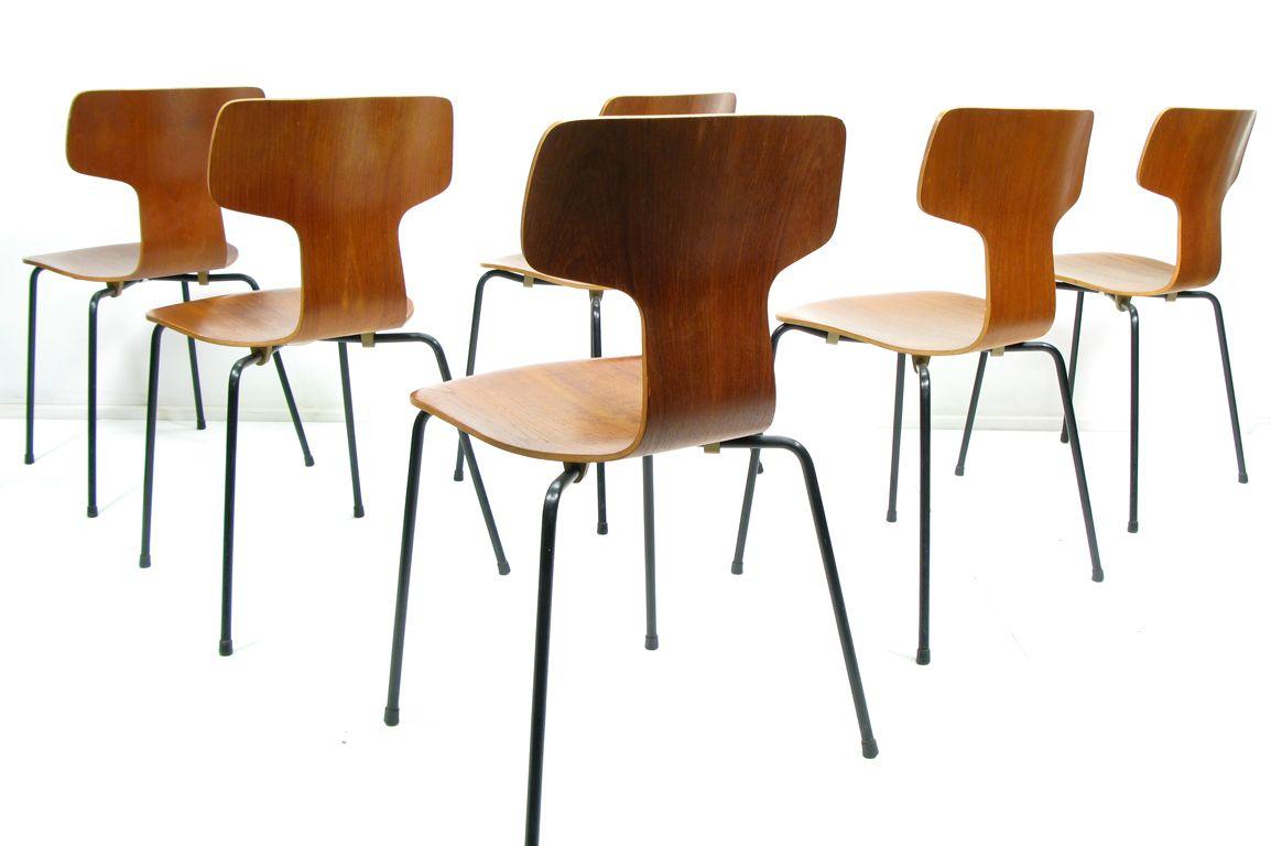 3103 st hle von arne jacobsen f r fritz hansen 6er set. Black Bedroom Furniture Sets. Home Design Ideas