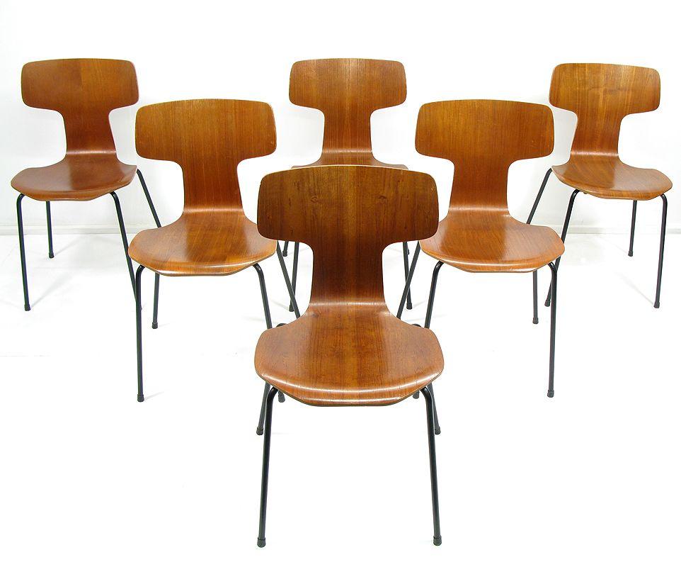 3103 st hle von arne jacobsen f r fritz hansen 6er set bei pamono kaufen. Black Bedroom Furniture Sets. Home Design Ideas