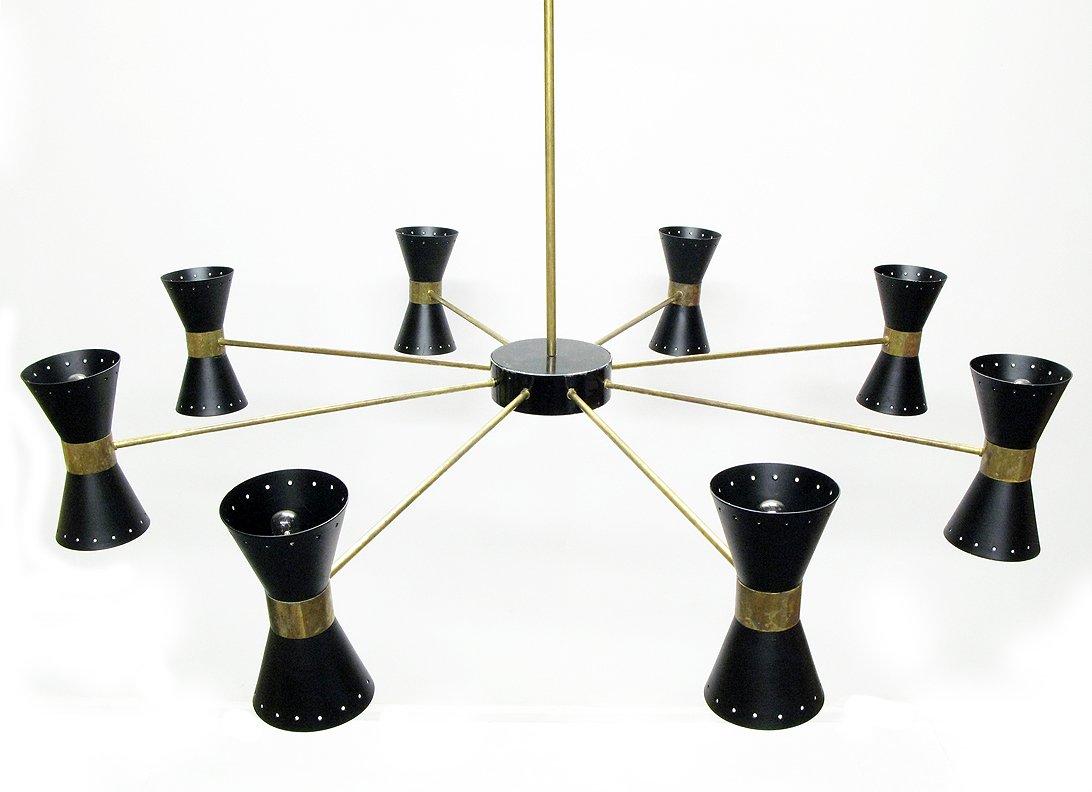 italienischer schwarzer mid century kronleuchter 1950er. Black Bedroom Furniture Sets. Home Design Ideas