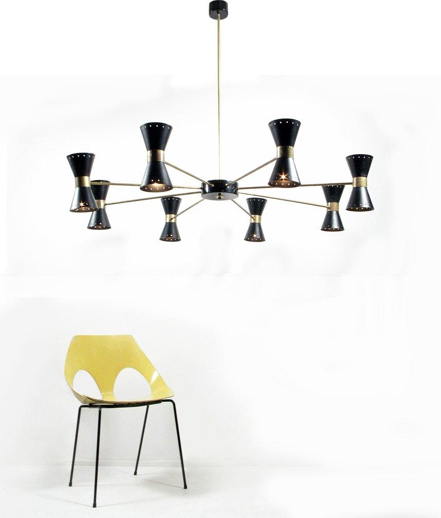 italienischer schwarzer mid century kronleuchter 1950er bei pamono kaufen. Black Bedroom Furniture Sets. Home Design Ideas
