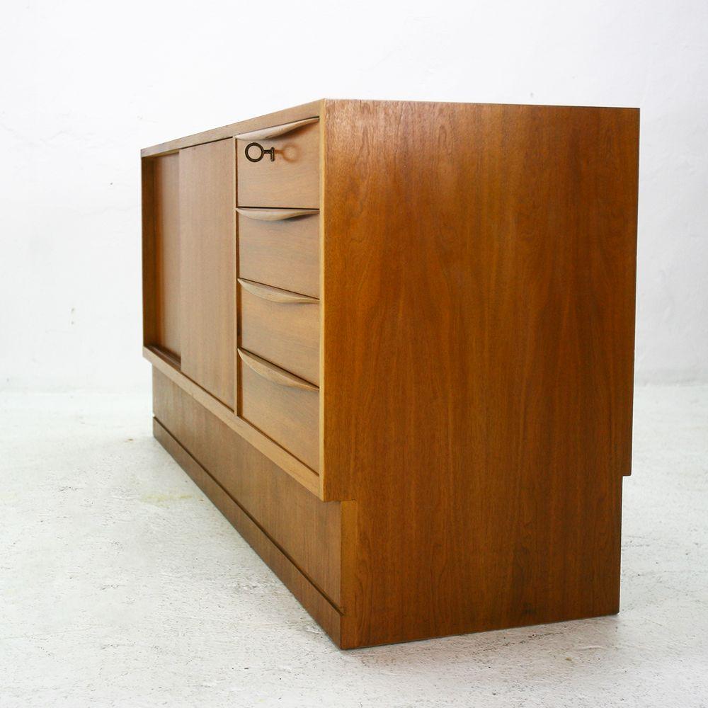 German walnut veneered sideboard by hans hartl 1960s for for Sideboard 80er jahre