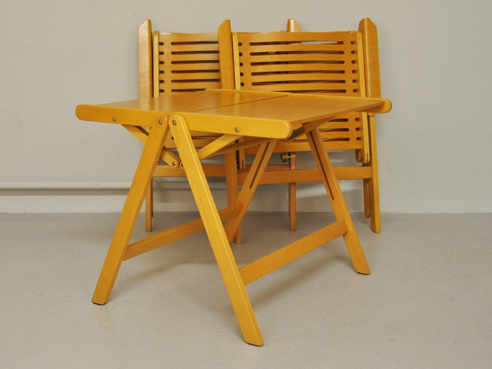 Rex Folding Chairs & Table by Niko Kralj 1952 Set of 3 for sale