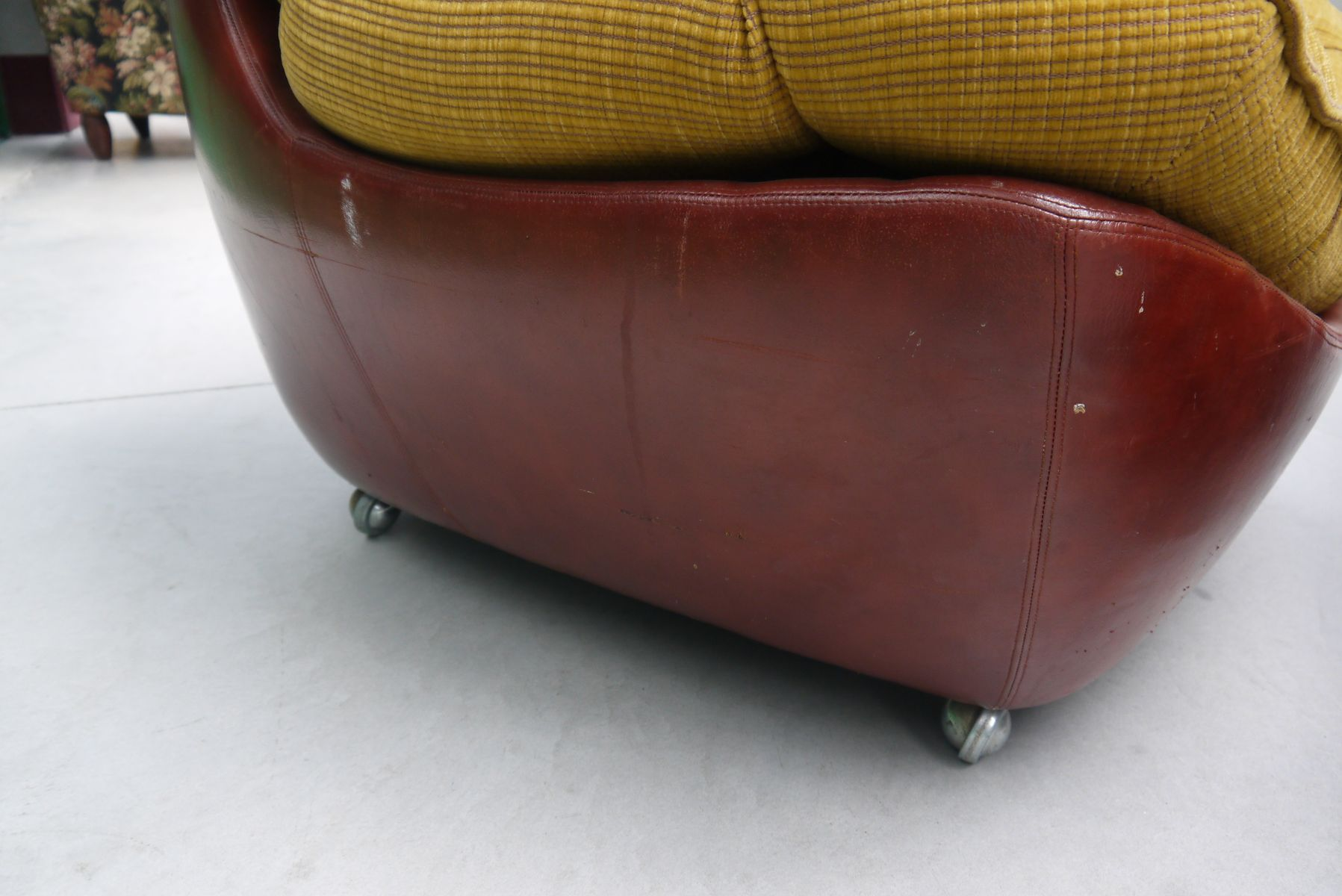 Italian Leather Club Chair with Pouf 1970s for sale at Pamono
