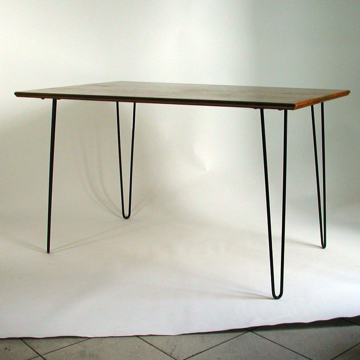 industrie schreibtisch aus nussbaum haarnadel beine 1950er bei pamono kaufen. Black Bedroom Furniture Sets. Home Design Ideas