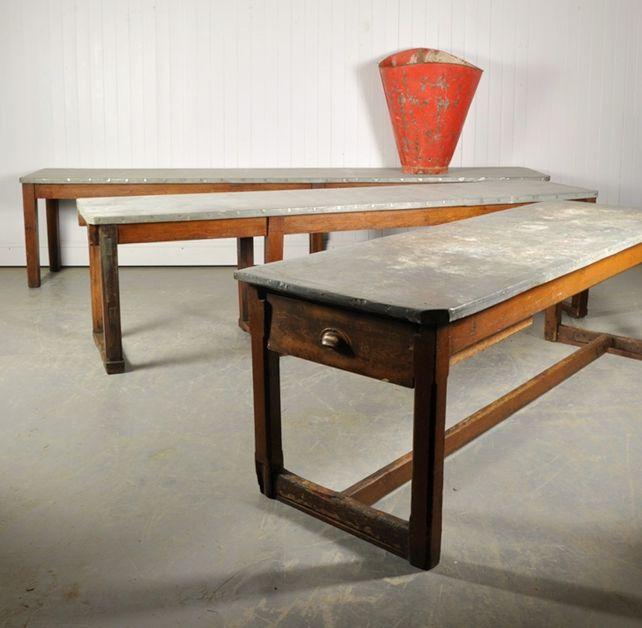 Vintage beistelltisch mit tischplatte aus zink bei pamono for Table 6 ohio