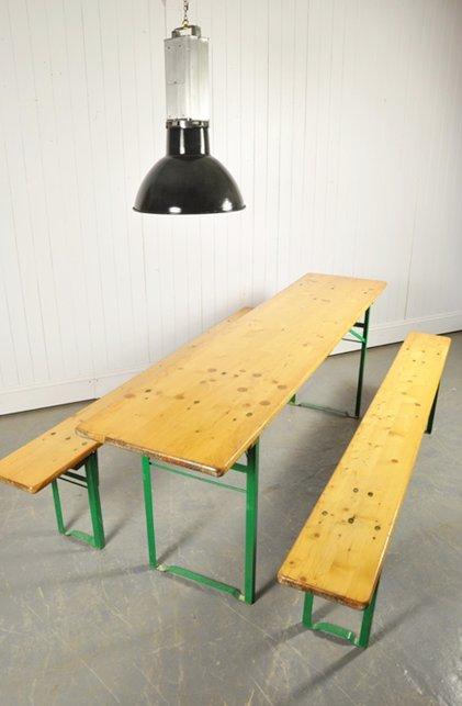 vintage biergarten tisch und bank set bei pamono kaufen. Black Bedroom Furniture Sets. Home Design Ideas