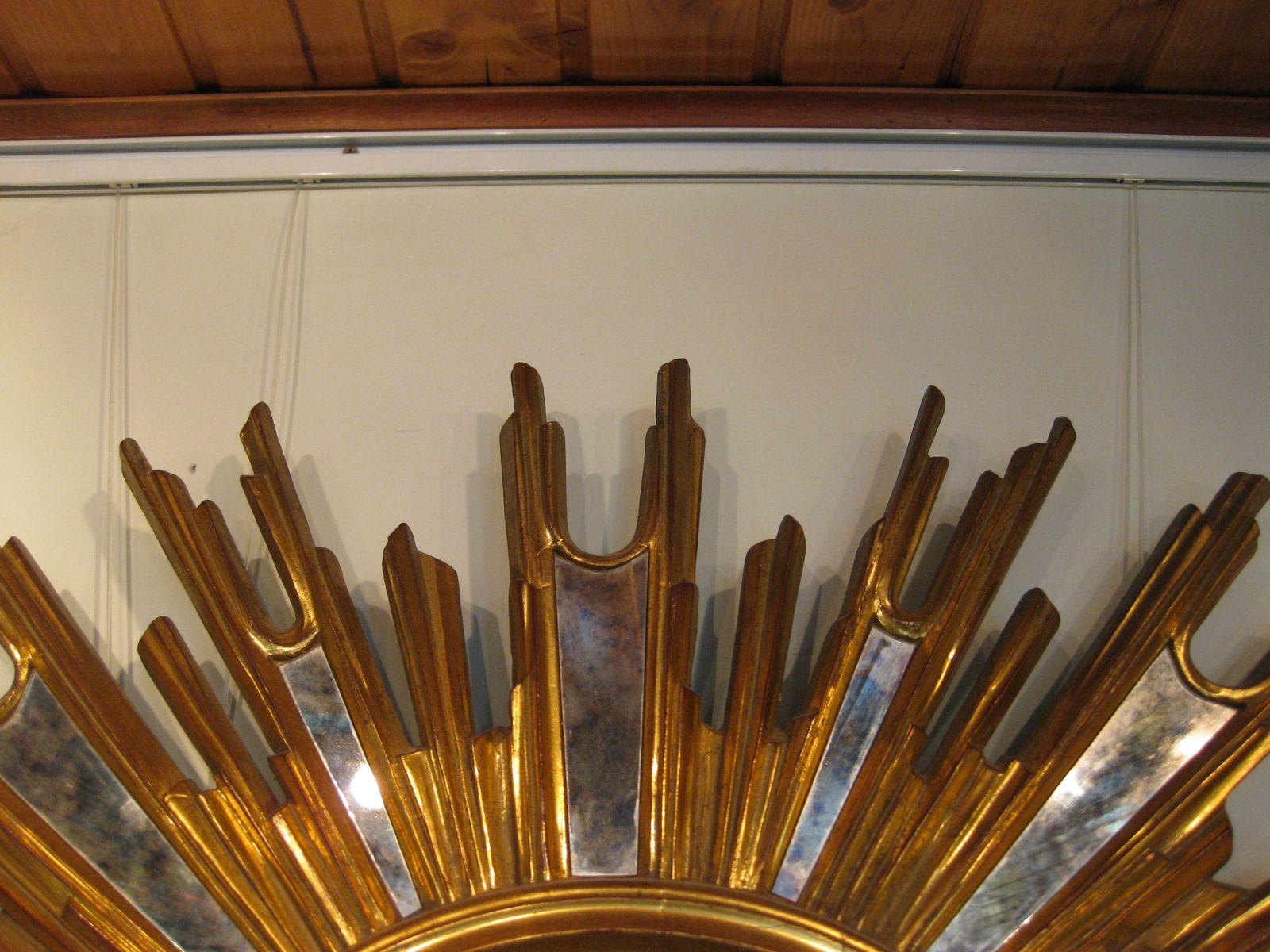 franz sischer goldener sonnen spiegel 1930er bei pamono. Black Bedroom Furniture Sets. Home Design Ideas