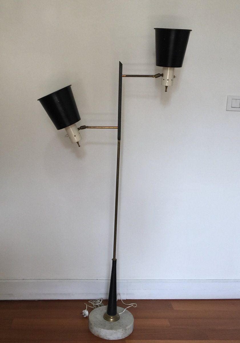 lampadaire en laiton et pierre de stilnovo italie en. Black Bedroom Furniture Sets. Home Design Ideas