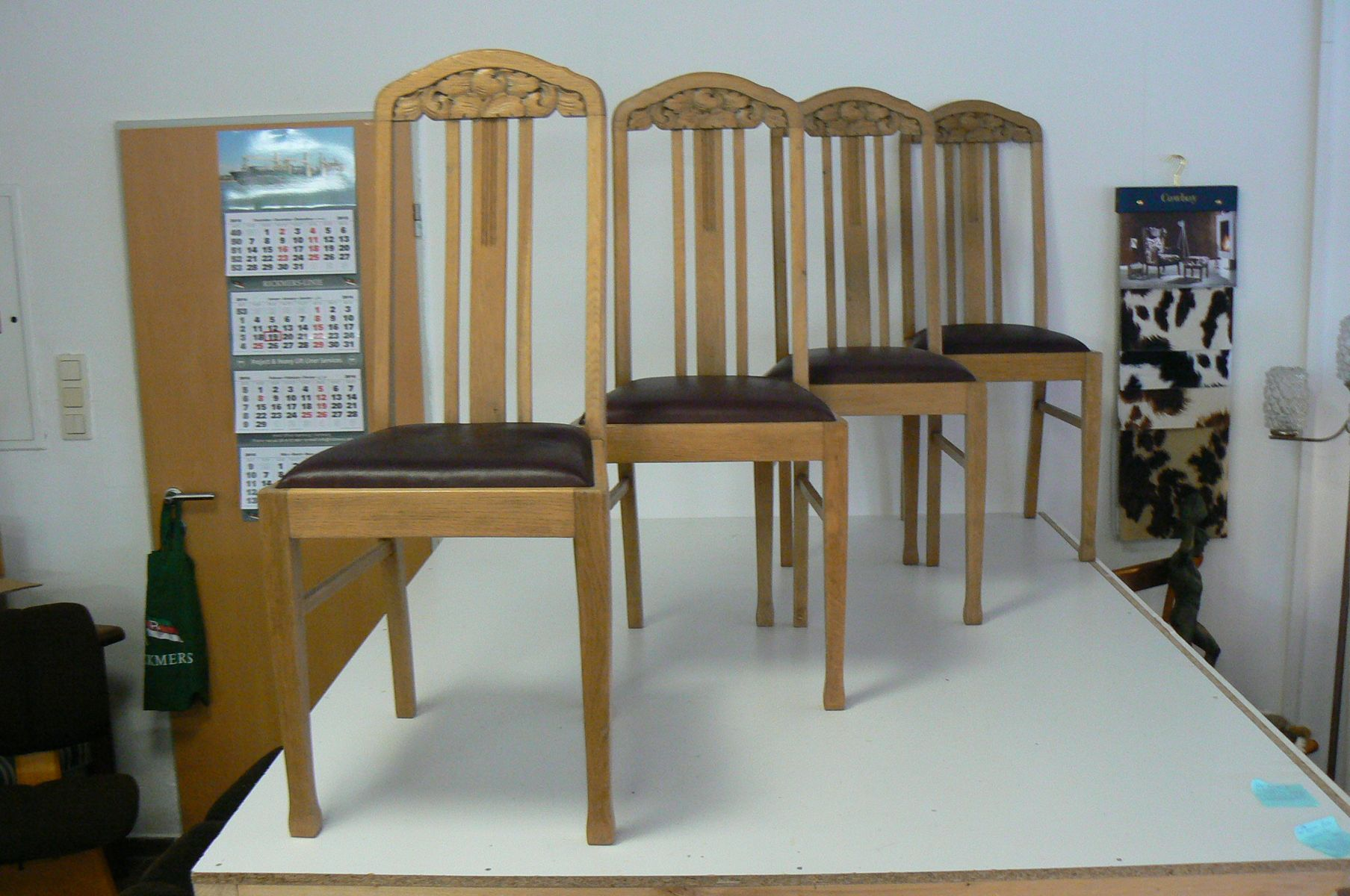 German Antique Oak Dining Chairs, Set of 4 for sale at Pamono