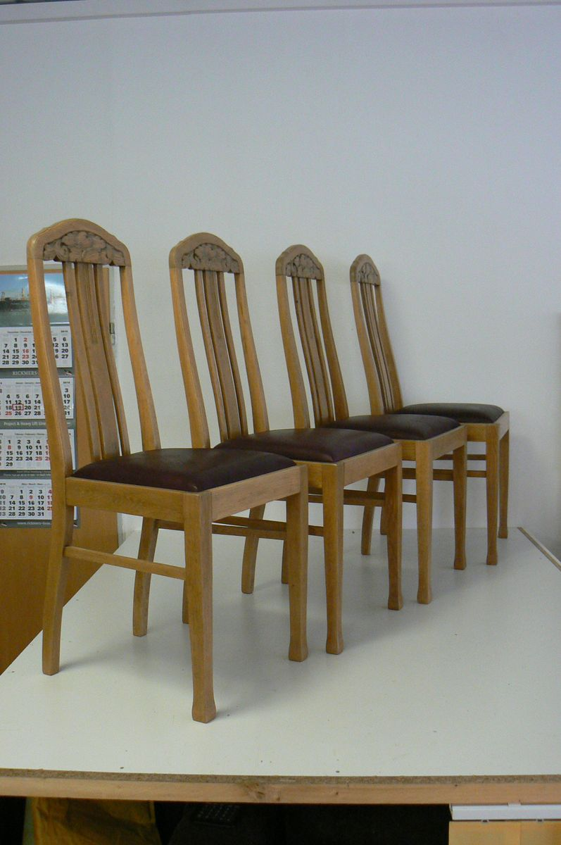 - German Antique Oak Dining Chairs, Set Of 4 For Sale At Pamono