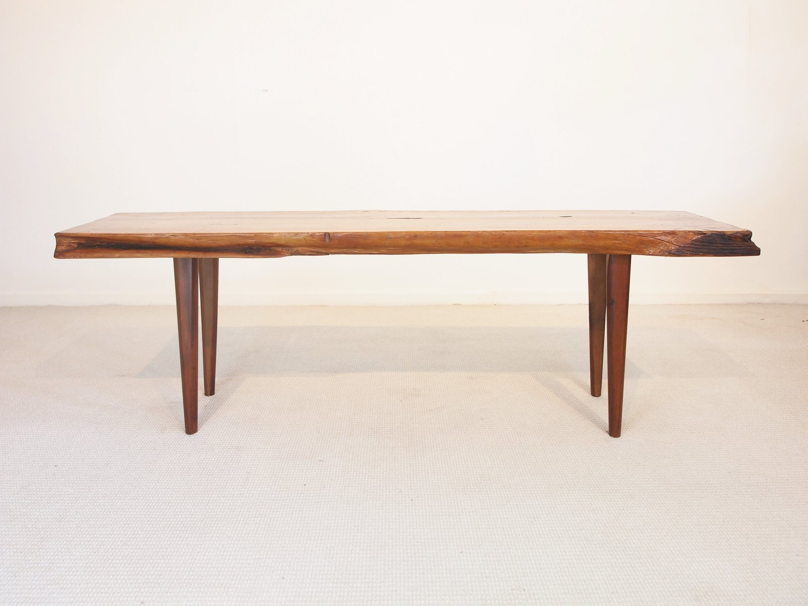 mid-century wooden slab coffee table from reynolds of ludlow for