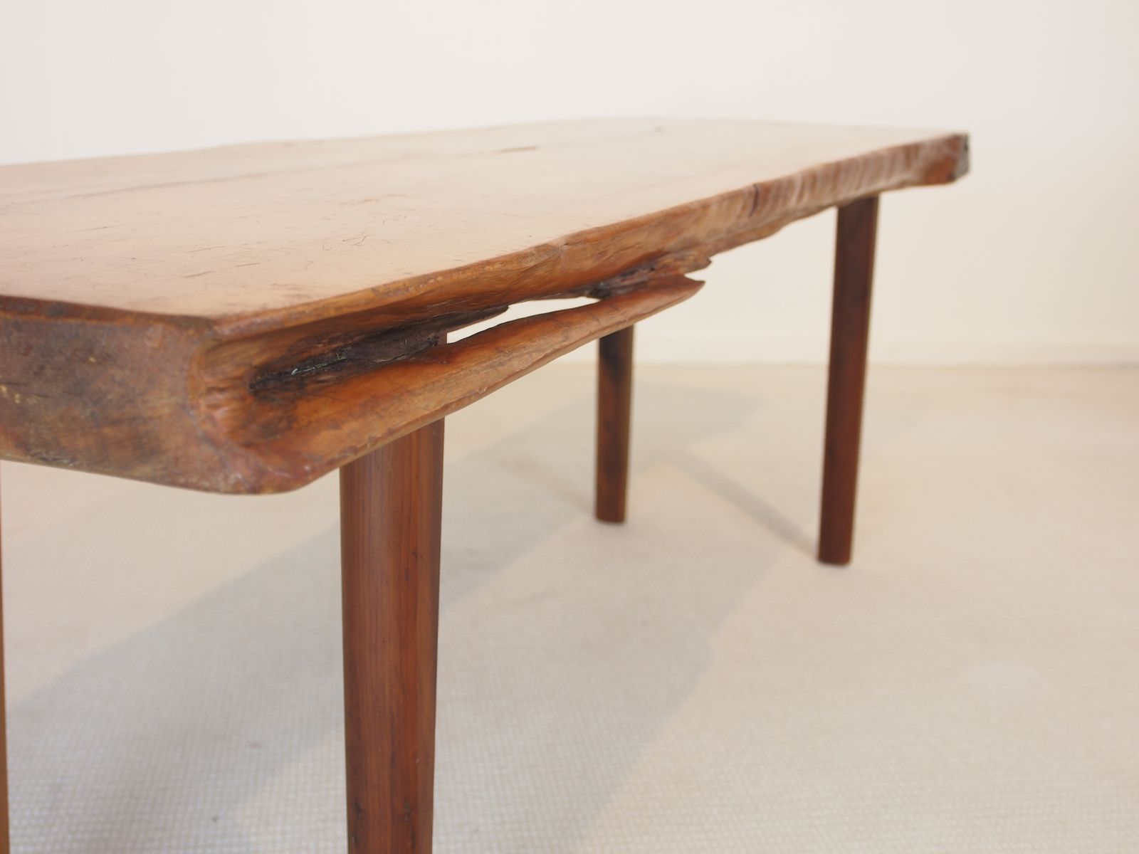 mid century wooden slab coffee table from reynolds of ludlow for