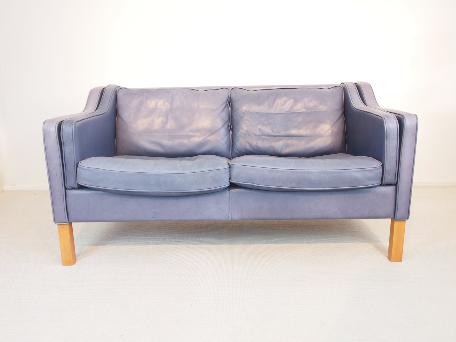 Vintage Blue Aniline Leather Sofa from Georg Thams for sale at Pamono
