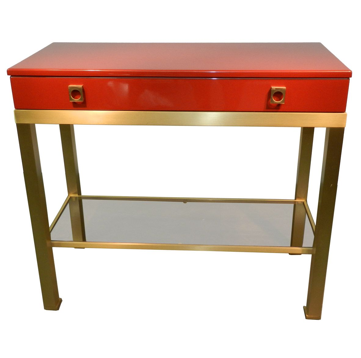 Vintage console table and mirror by guy lefevre 1970s for sale at pamono Retro sofa table