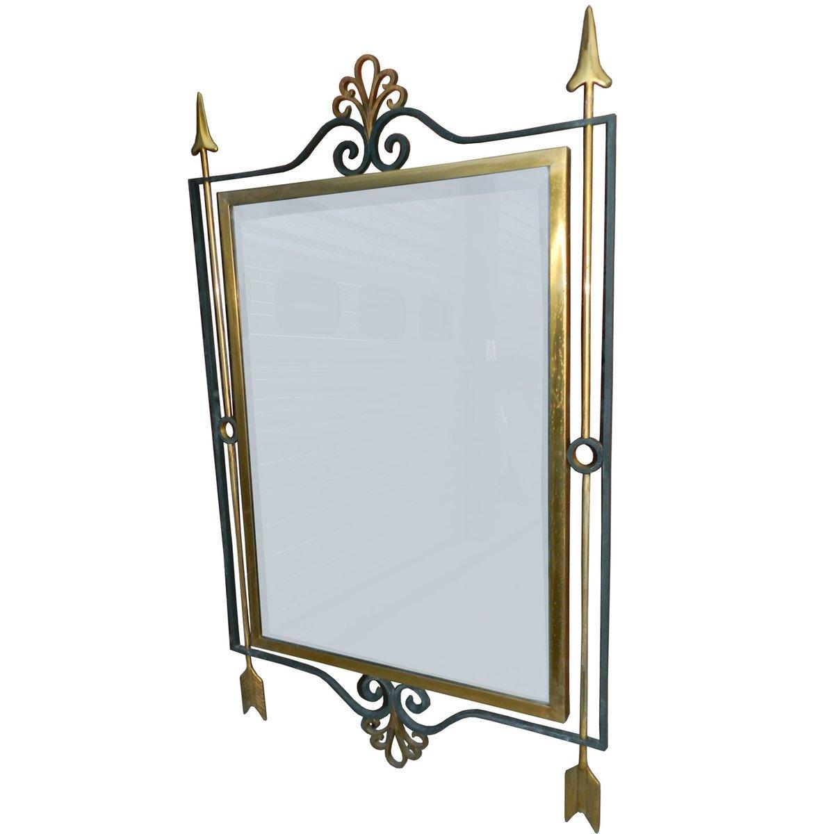 Vintage art deco gilt wrought iron mirror for sale at pamono for Wrought iron mirror