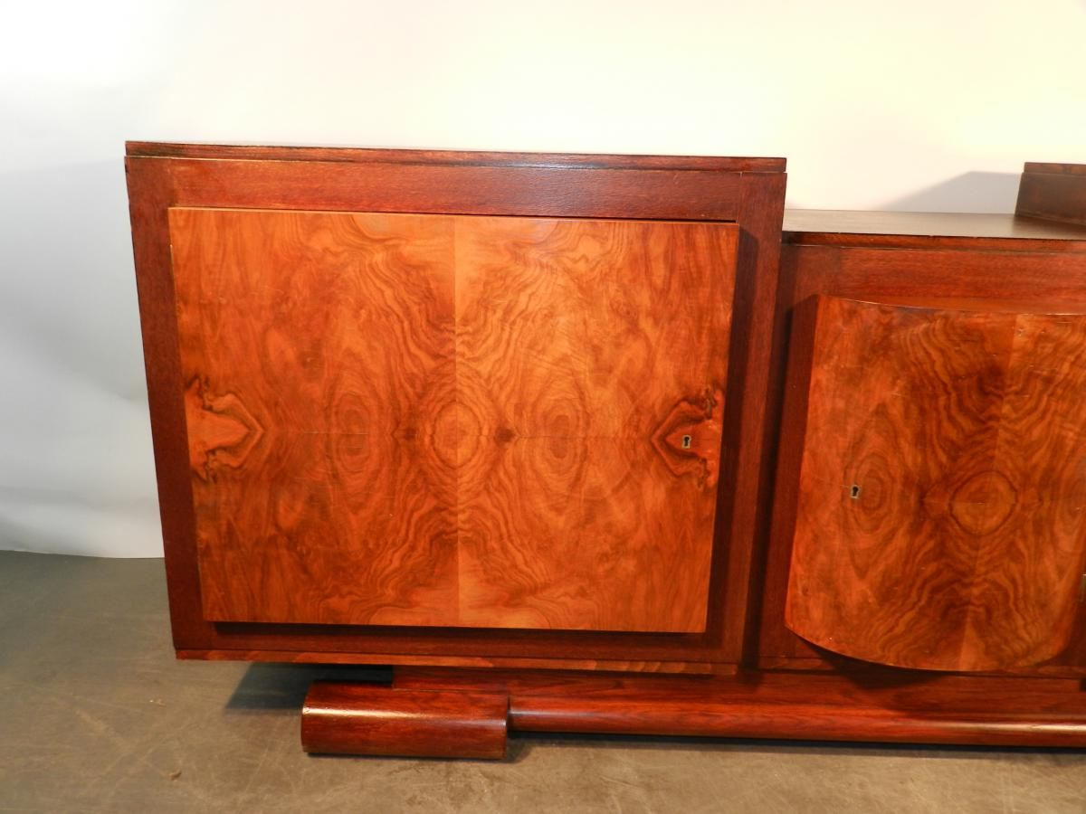 art deco oak walnut sideboard 1940s for sale at pamono. Black Bedroom Furniture Sets. Home Design Ideas