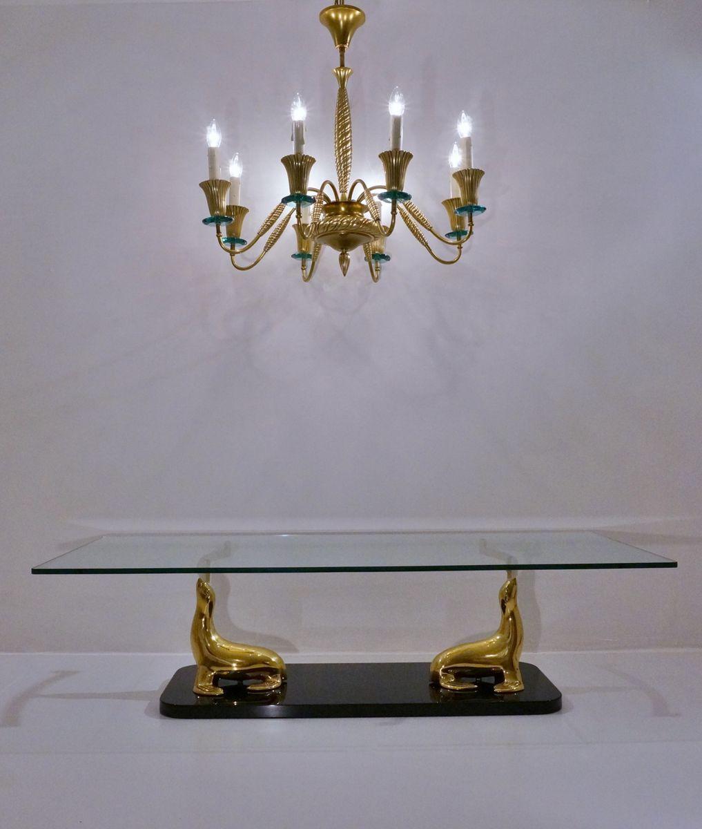 bronze and crystal chandelier from fontana arte 1940s for. Black Bedroom Furniture Sets. Home Design Ideas
