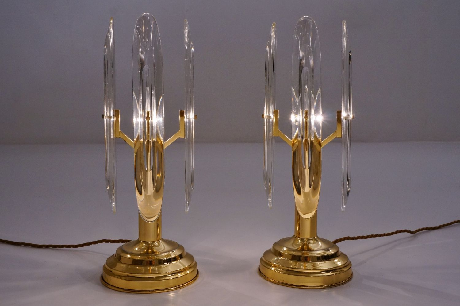 Mid Century Brass & Crystal Table Lamps by Gaetano