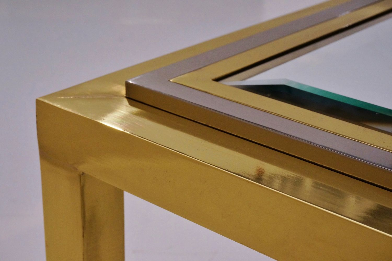 Brass chrome coffee table by willy rizzo for sale at pamono for Table willy rizzo