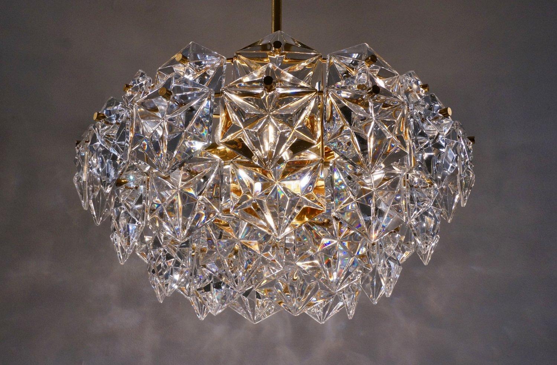 kristall und vergoldeter metall kronleuchter von kinkeldey. Black Bedroom Furniture Sets. Home Design Ideas