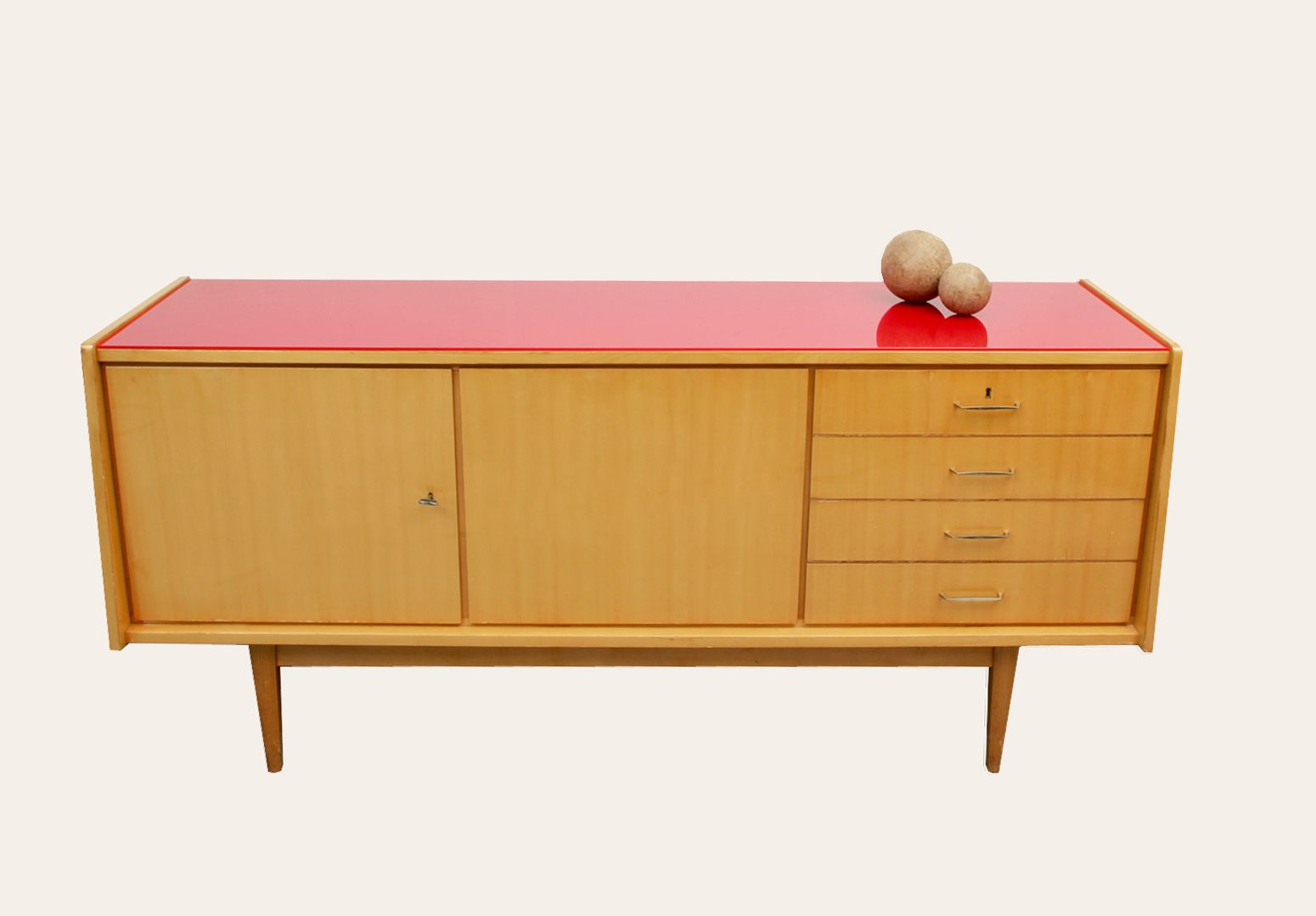 Mid Century Ash Sideboard with Red Glass Top, 1950s - Mid Century Ash Sideboard With Red Glass Top, 1950s For Sale At Pamono